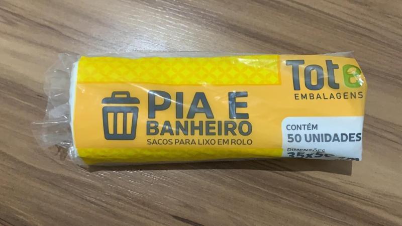 ROLO LIXO TOTE  PIA/BANHEIRO C/ 50 UN