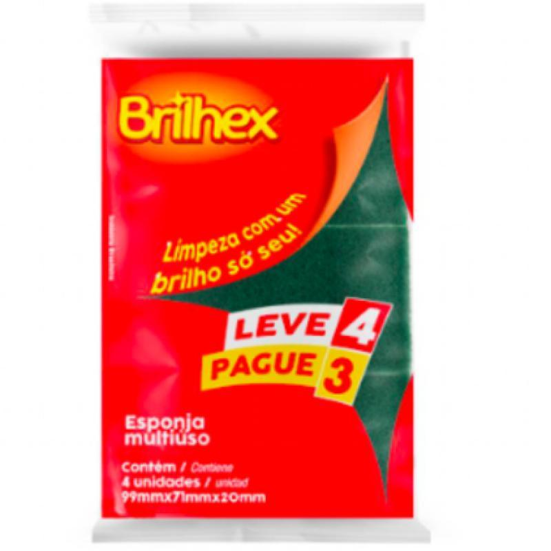 BRK-8366 ESPONJA BRILHEX  MULTIUSO 9,9X7,1X2,0 CM FD C/48  PCT C/4 UN