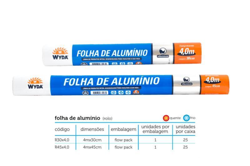 ROLO ALUMINIO WYDA 45 X 4,0 CX 25 UN