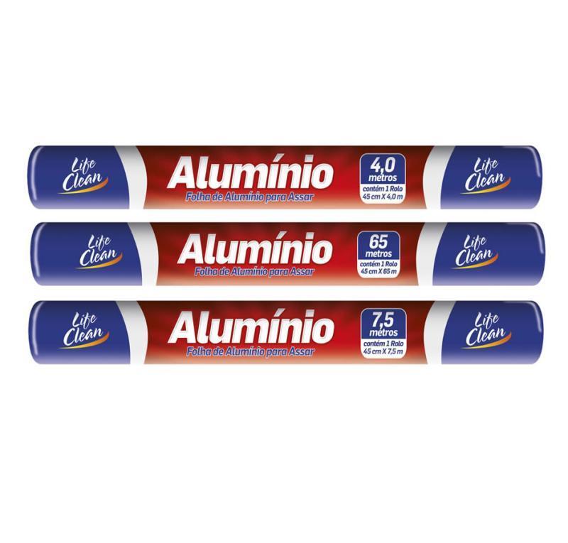 ROLO ALUMINIO LIFE CLEAN 45 X 7,5 CX 25 UN